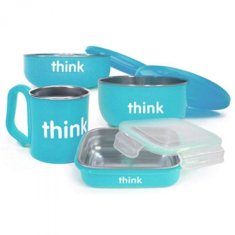 美國 Thinkbaby - 不鏽鋼餐具組-晴空藍