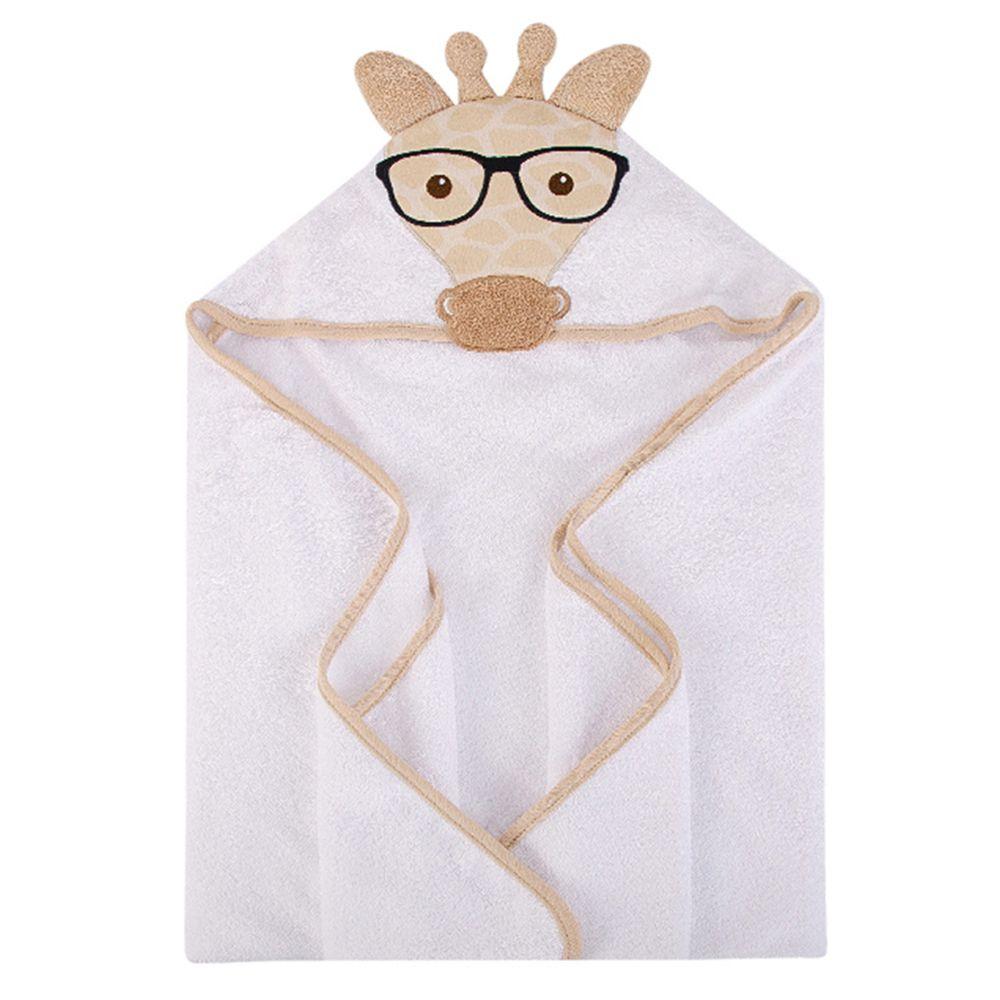 美國 Luvable Friends - 100% 純棉嬰幼兒動物造型連帽浴巾/包巾-長頸鹿