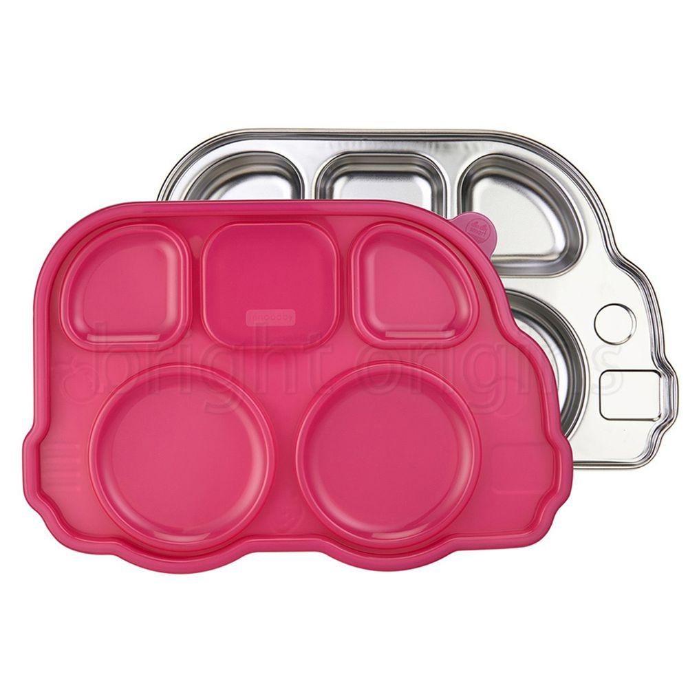 美國Innobaby - 不銹鋼兒童餐具 巴士餐盤-粉色