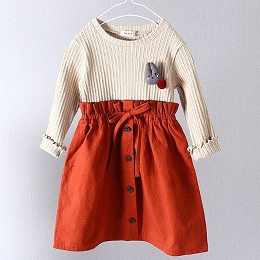 韓國 First Blue - (剩11號)小兔子假兩件休閒排扣洋裝-米杏X橘紅
