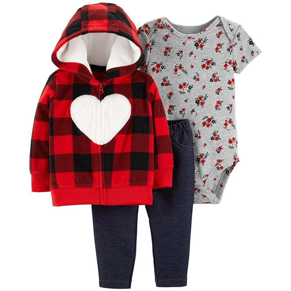 美國 Carter's - 嬰幼兒厚外套包屁衣長褲三件組_ 純棉珊瑚絨-格紋愛心