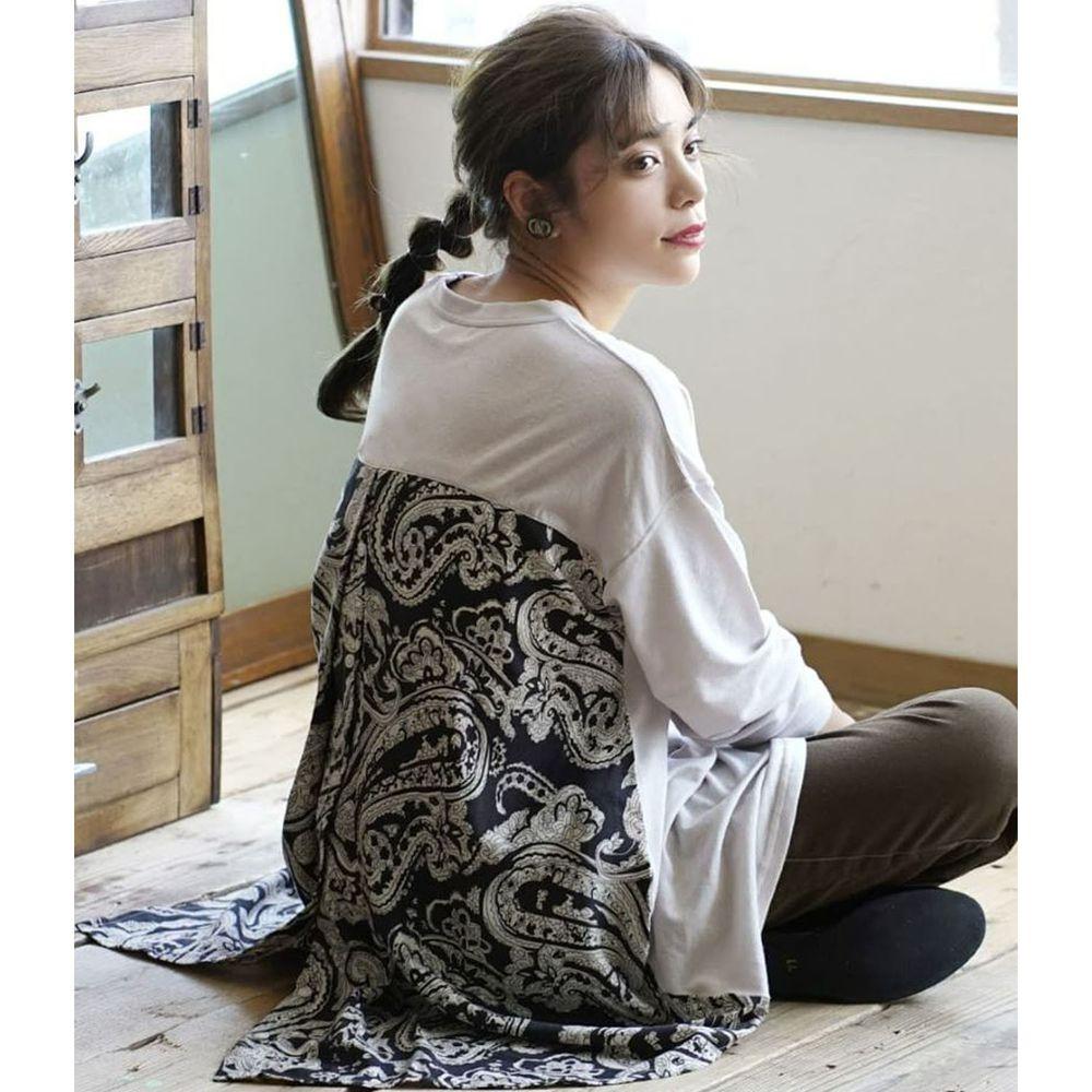 日本 zootie - 異材質拼接前短後長寬版長袖上衣-變形蟲圖騰-淺灰