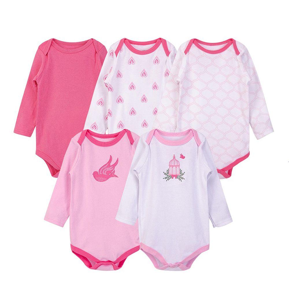 美國 Luvable Friends - 嬰幼兒100%純棉長袖包屁衣5件組-粉鳥飛翔