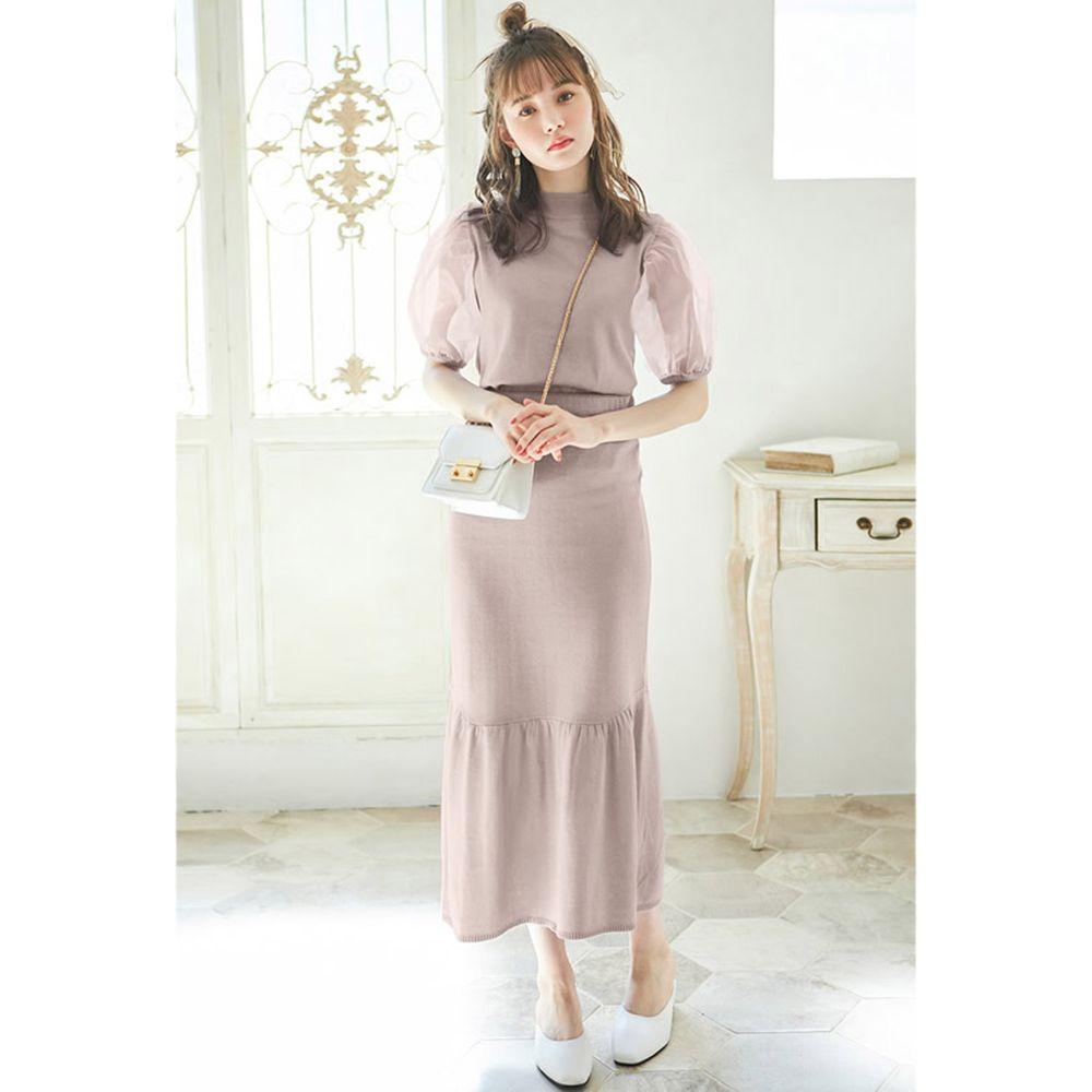 日本 GRL - 薄紗澎袖上衣+小魚尾修身長裙套裝-氣質杏
