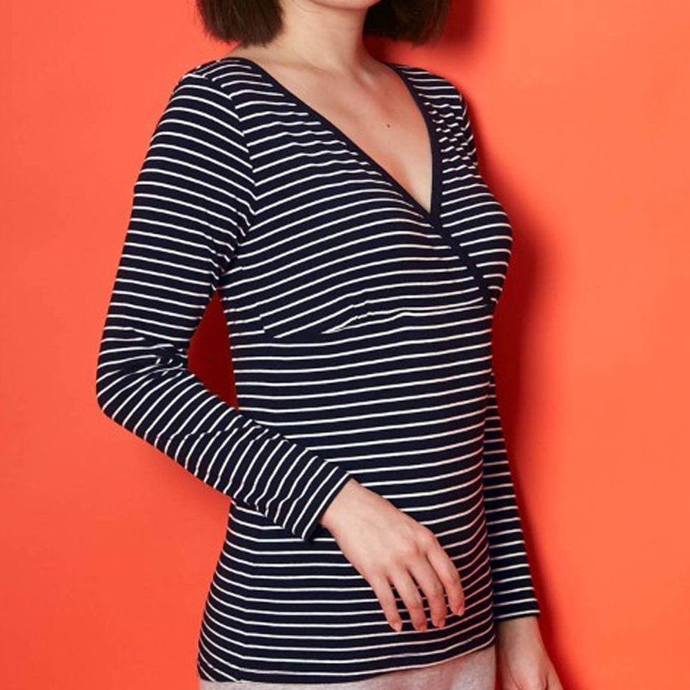 日本千趣會 - 95%棉 (孕哺)交叉V領哺乳發熱衣-黑白條紋