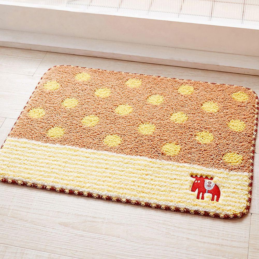 日本千趣會 - 北歐MOZ 長毛吸水腳踏墊-撞色點點-褐粉 (45x60cm)