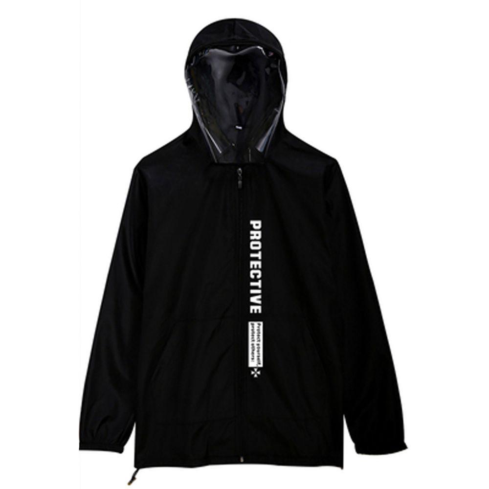 防飛沫連帽外套-一般款-黑色印花-(非醫療用品)