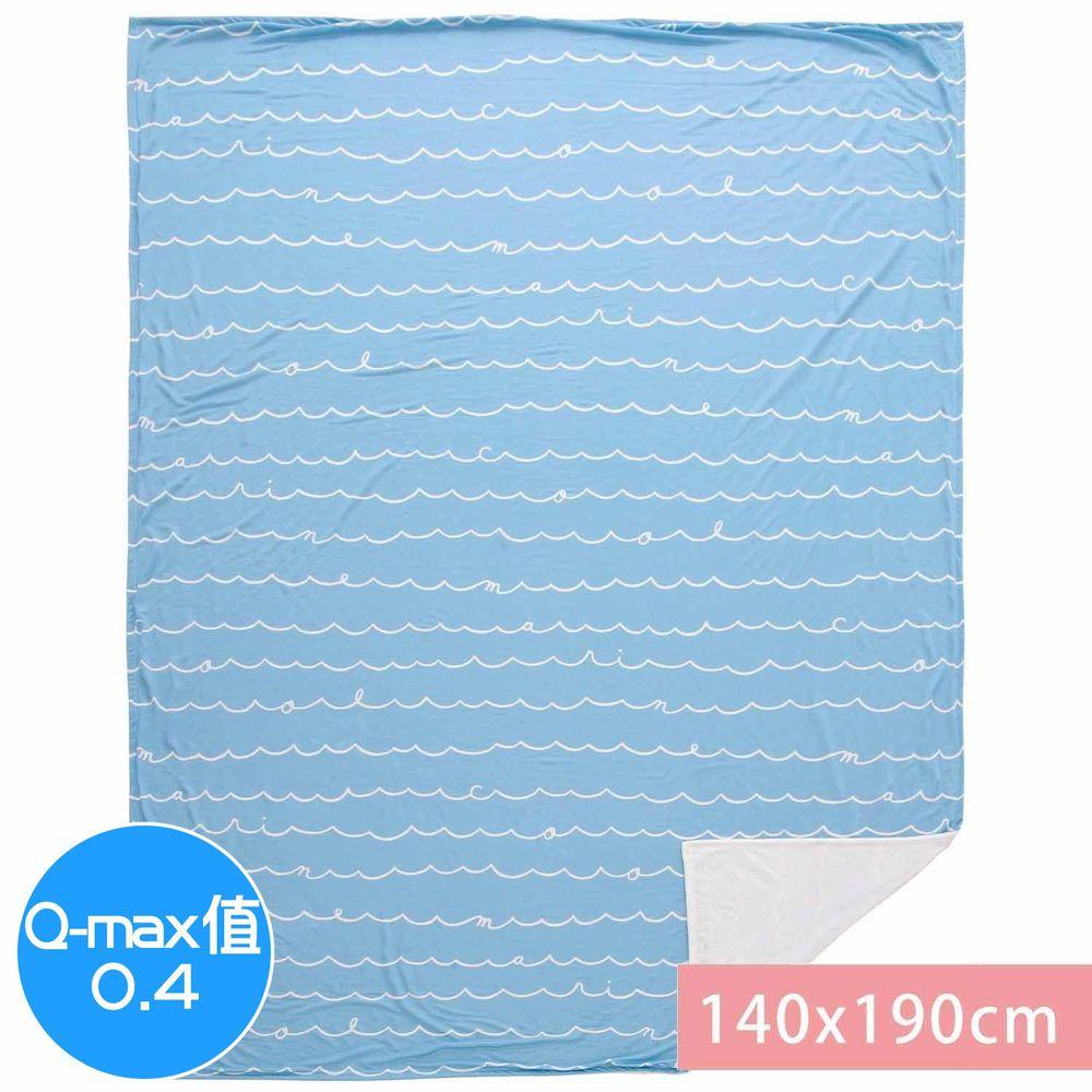 日本小泉 - 節電對策冷感薄毯-簡約線條字母-水藍 (140x190cm)