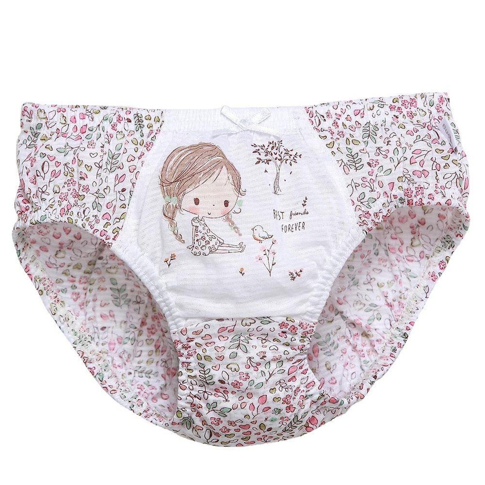 韓國 Ppippilong - 純棉透氣三角褲(女寶)-樹下女孩