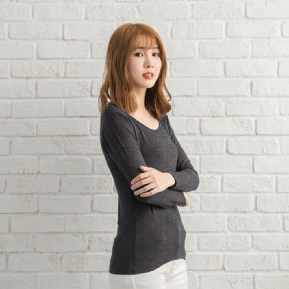 貝柔 Peilou - TENCEL日本吸濕發熱纖維保暖衣-女圓領-麻灰