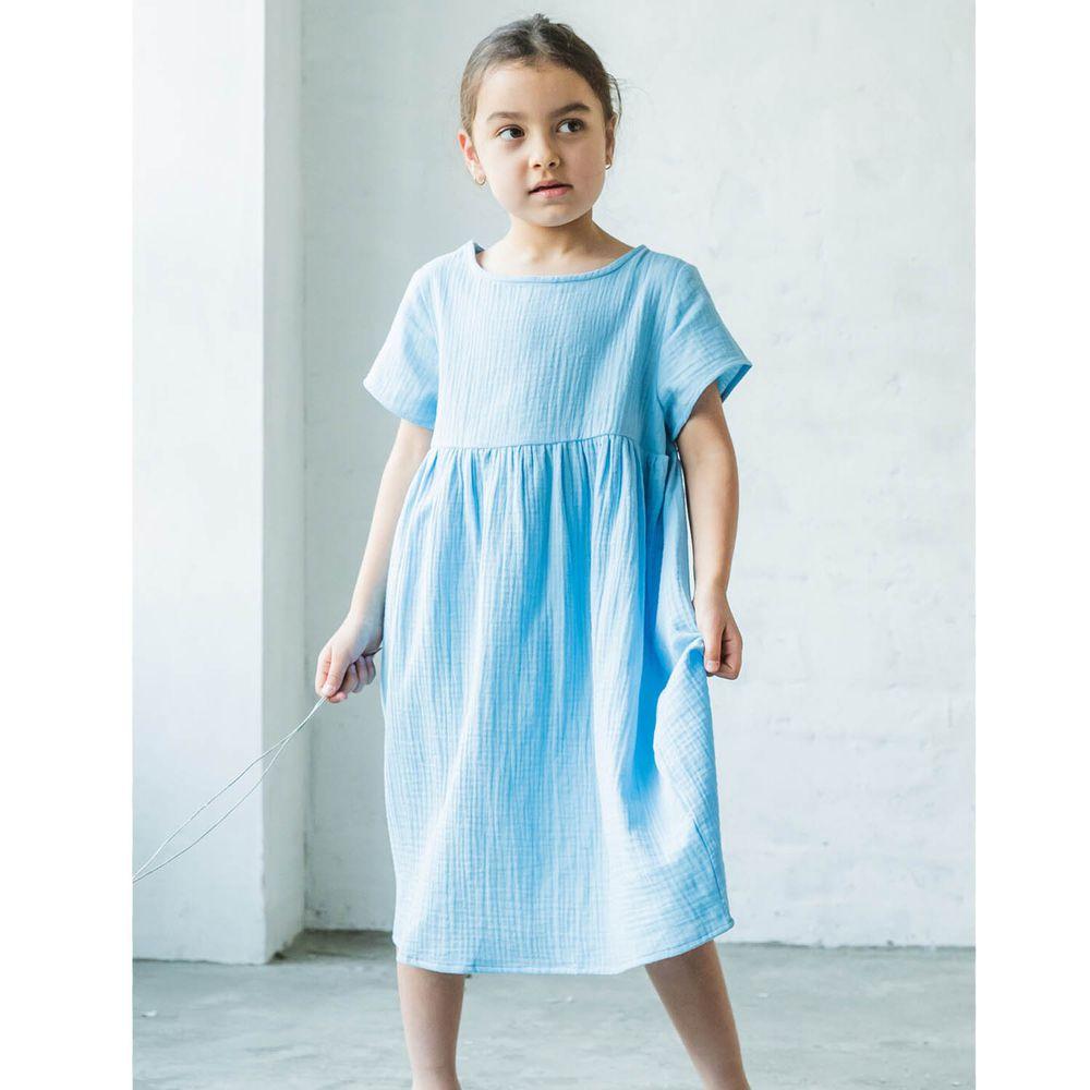 日本 PAIRMANON - 純棉二重紗素色短袖洋裝(孩子)-天空藍