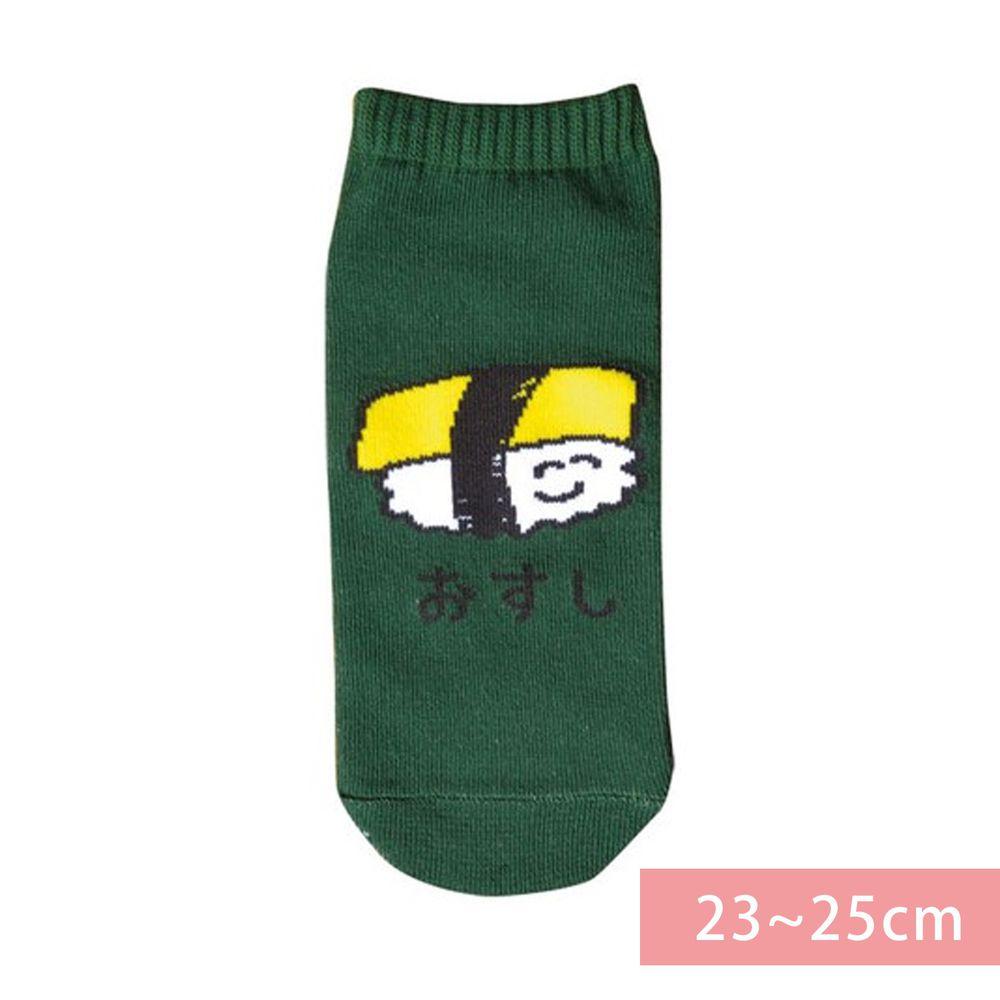 日本 OKUTANI - 童趣日文插畫短襪-玉子握壽司-綠 (23-25cm)