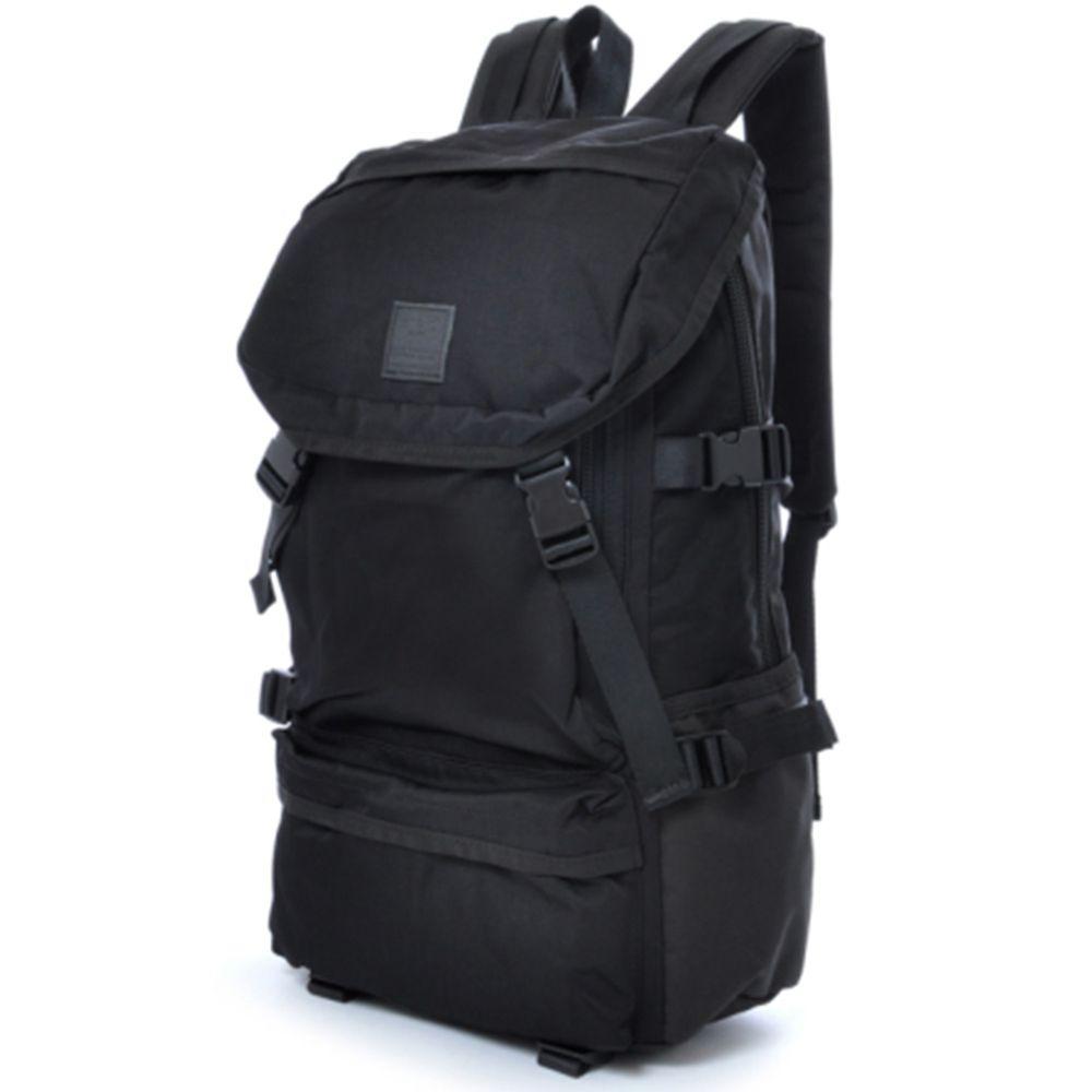 日本 Anello - WISE-BP 復古色 機能大容量戶外後揹包-Regular大尺寸-BK黑色