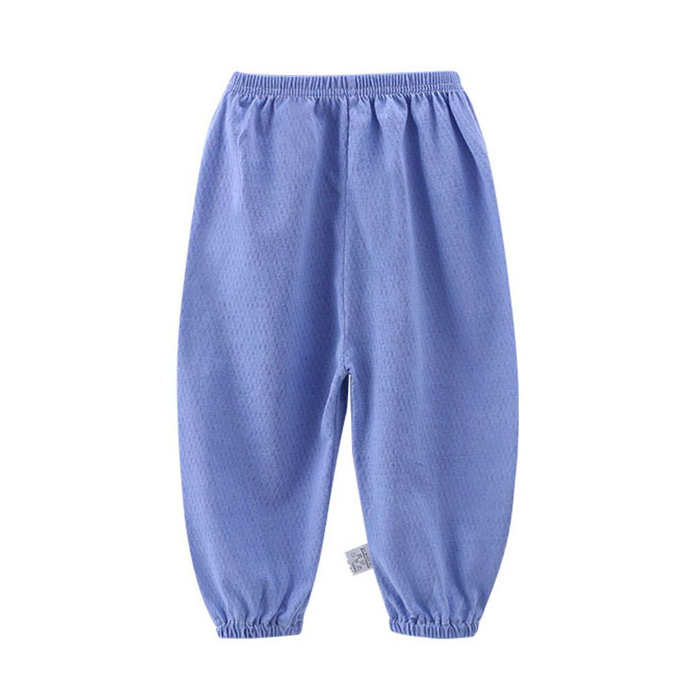 ZIHOU - 純棉網眼防蚊褲-藍色素面