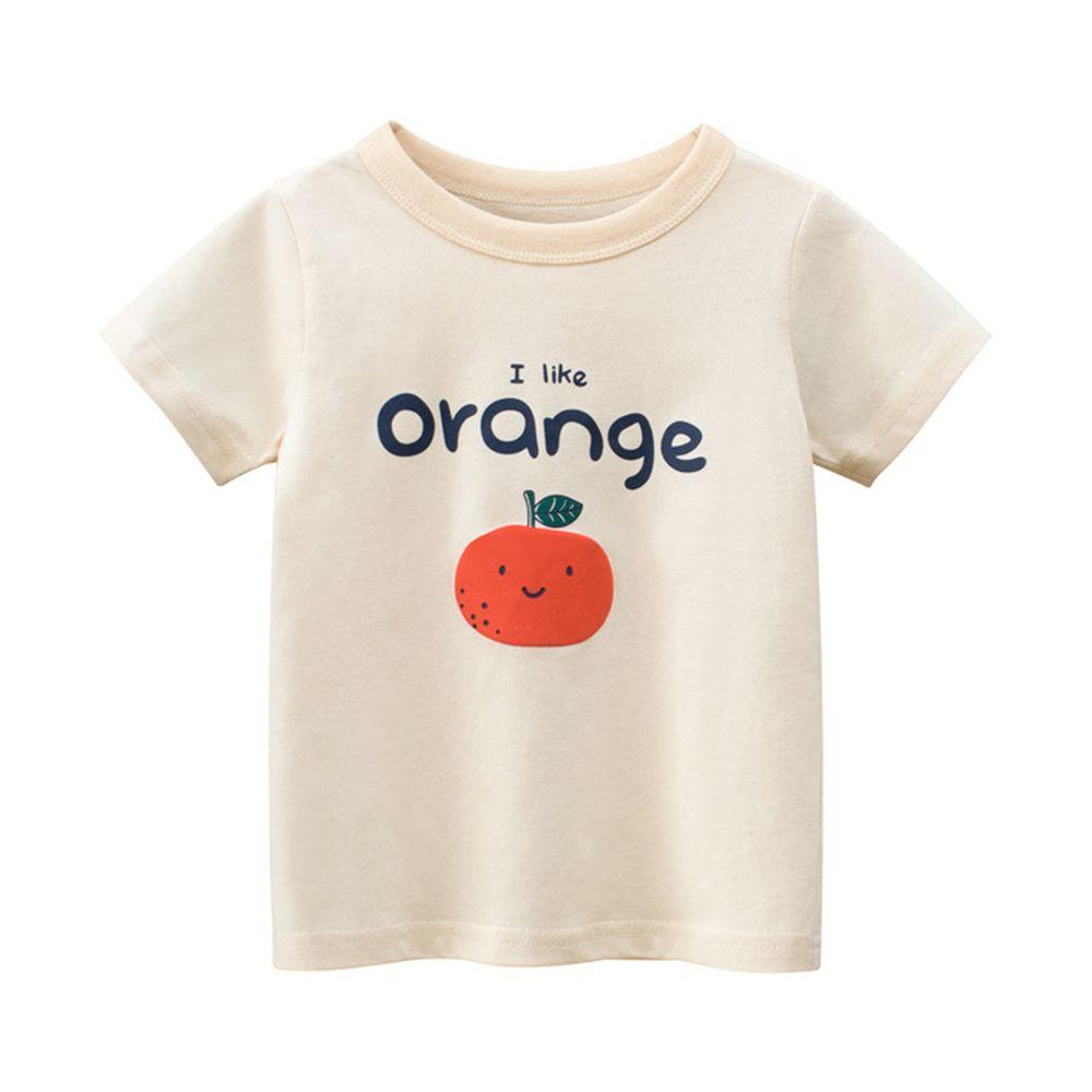 純棉短袖上衣-橘子-杏色