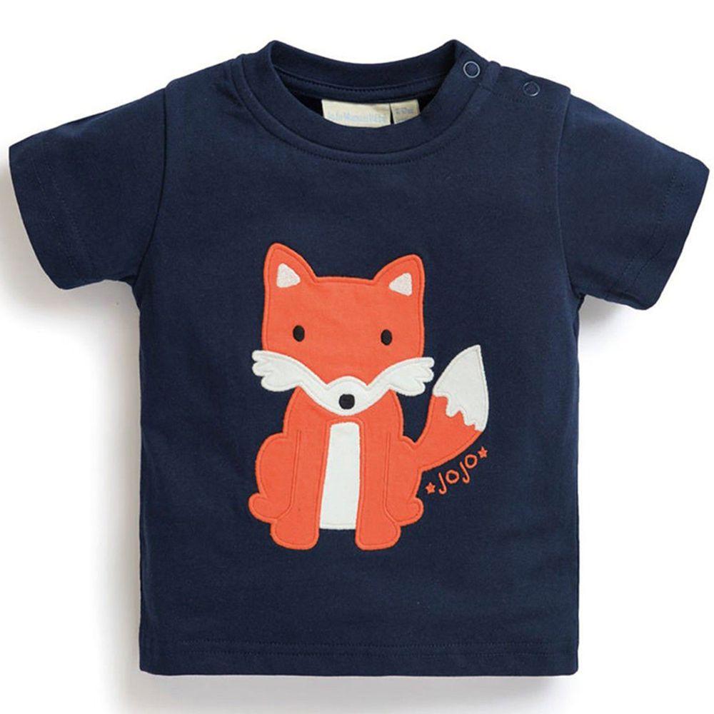 英國 JoJo Maman BeBe - 嬰幼兒短袖純棉上衣單入組-可愛狐狸
