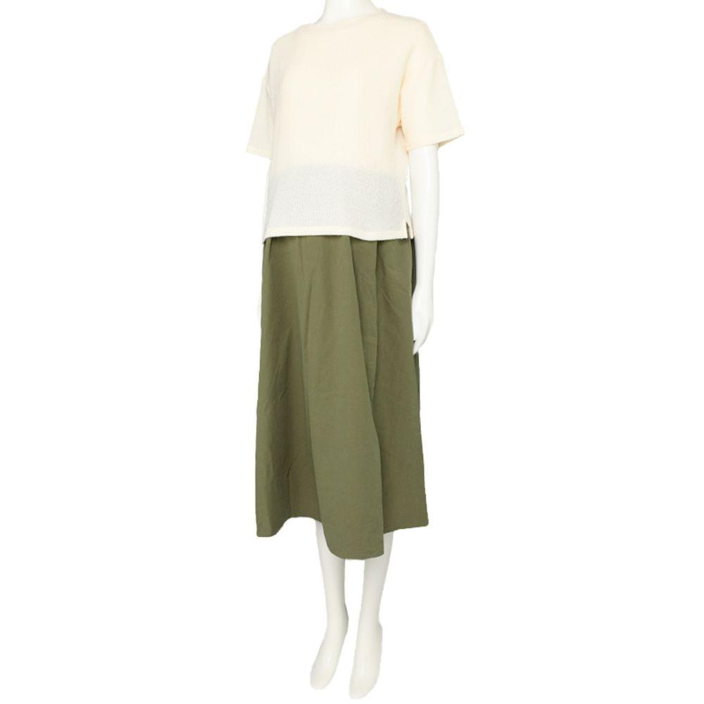 akachan honpo - 短袖假兩件洋裝-軍綠色