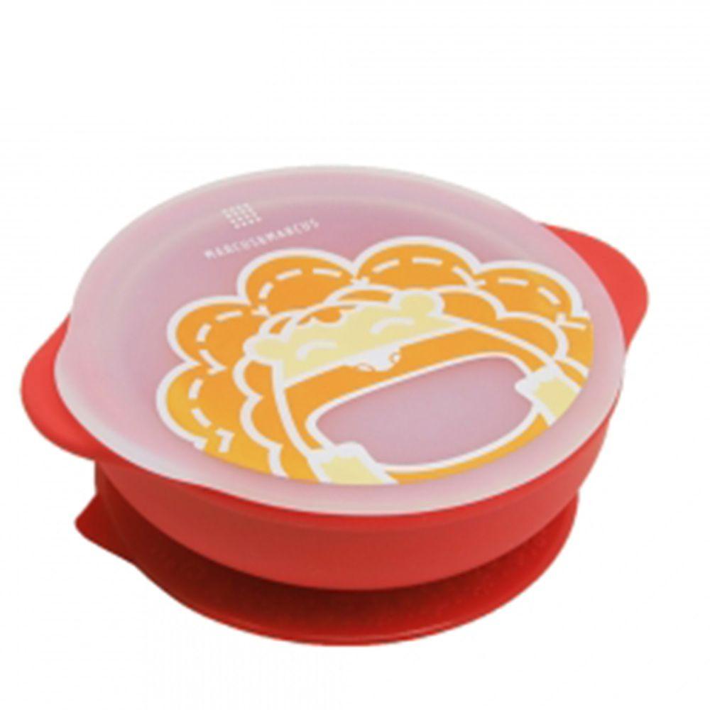 MARCUS&MARCUS - 動物樂園幼兒自主學習吸盤碗含蓋-紅色