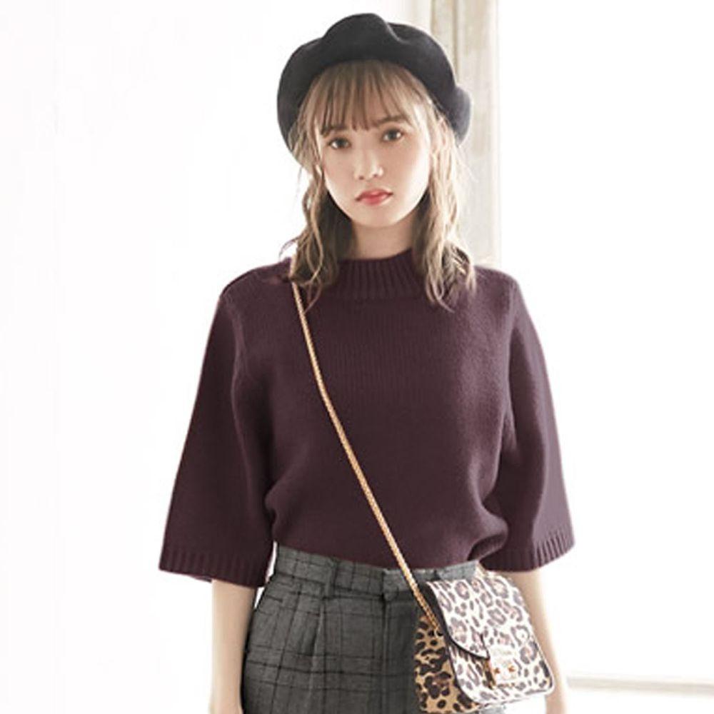 日本 GRL - 寬版顯瘦小高領七分袖針織上衣-深咖啡