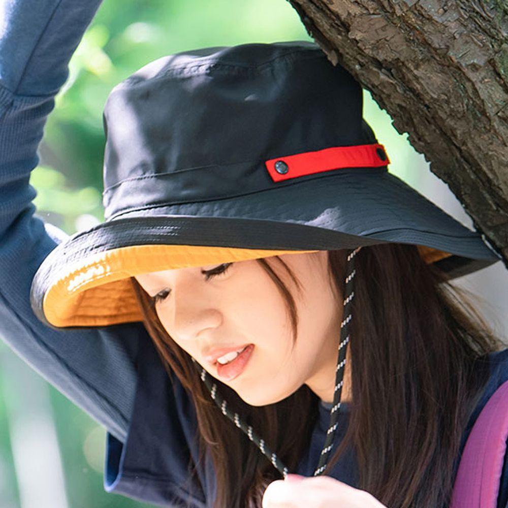 日本 irodori - 【irodori】抗UV可捲收防潑水遮陽帽(附防風帽帶)-黑X橘內裏