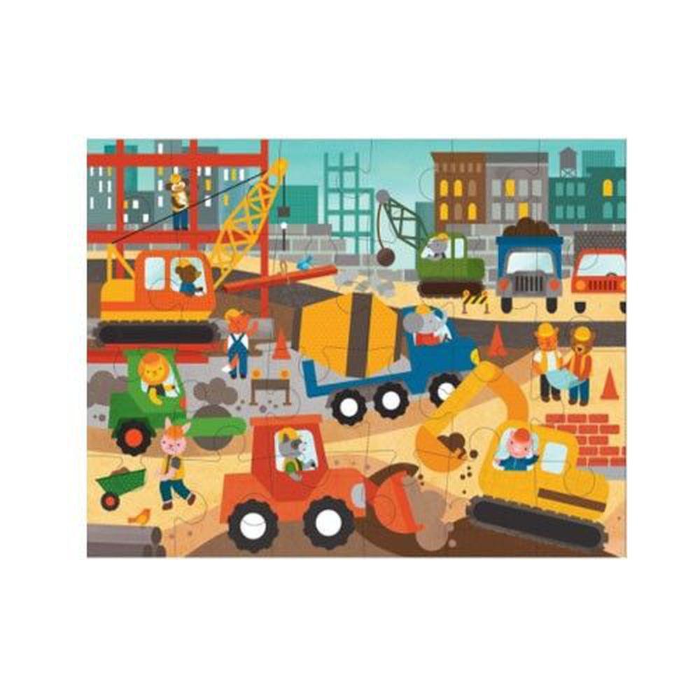 美國 Petit Collage - 地板拼圖-工程交通-24片