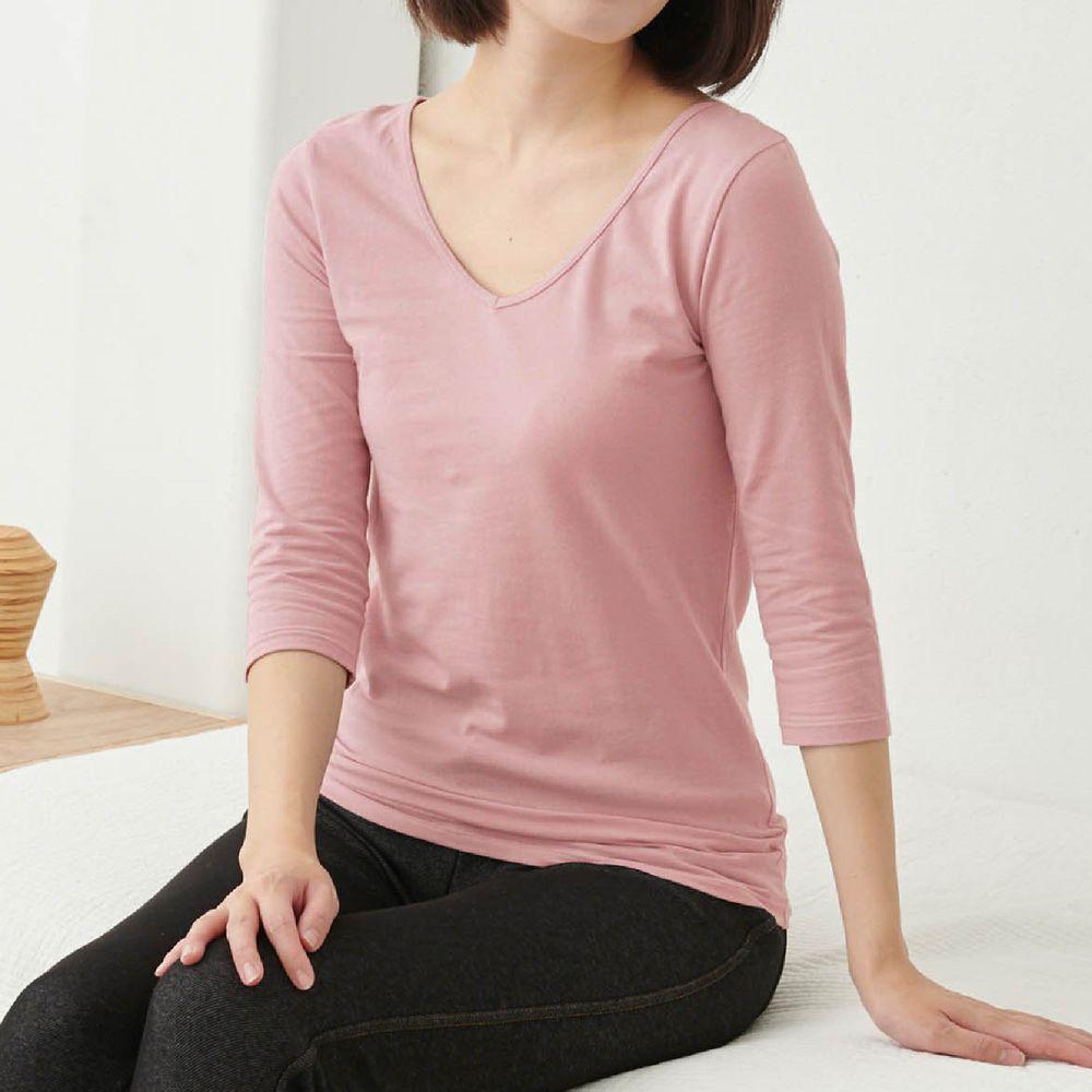 日本千趣會 - 95%棉 (媽媽)前後V領七分袖發熱衣-粉紅