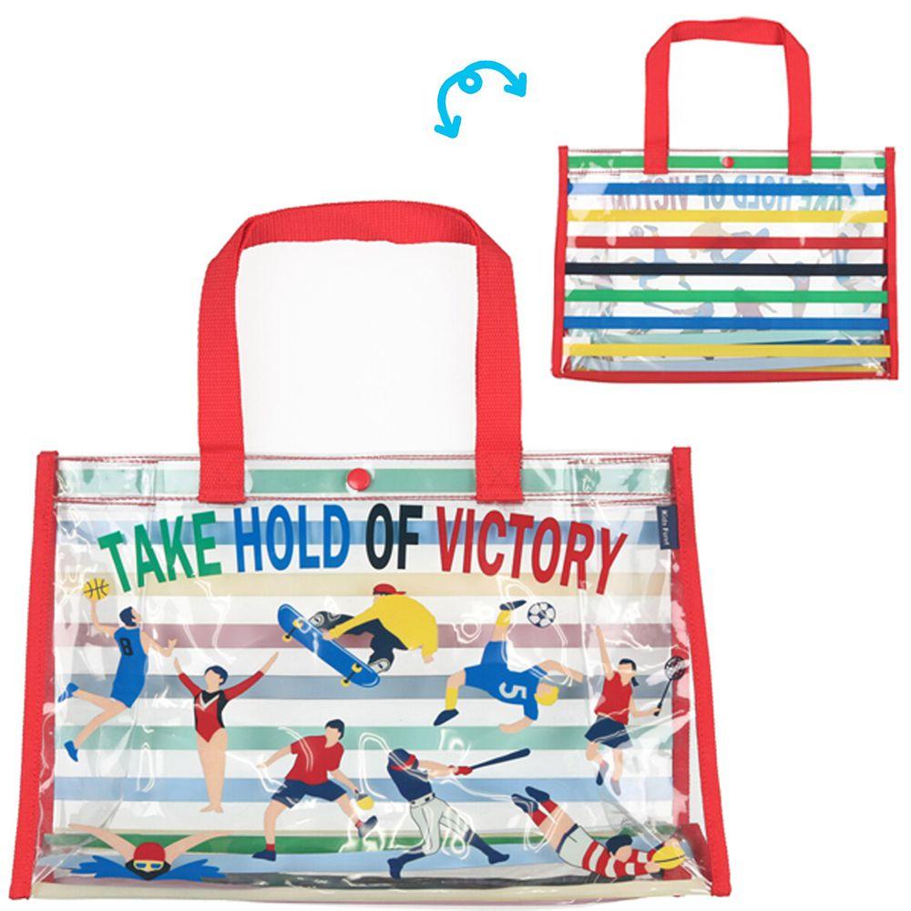 日本服飾代購 - 防水PVC游泳包(雙面圖案設計)-運動健將-紅 (25x36x13cm)