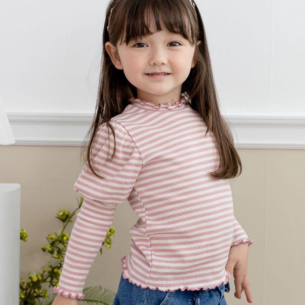 韓國 ERU - 公主袖針織羅紋上衣-粉紅條紋