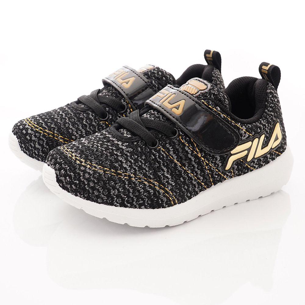 FILA - 運動童鞋-針織簡約慢跑鞋款(中大童段)-黑金