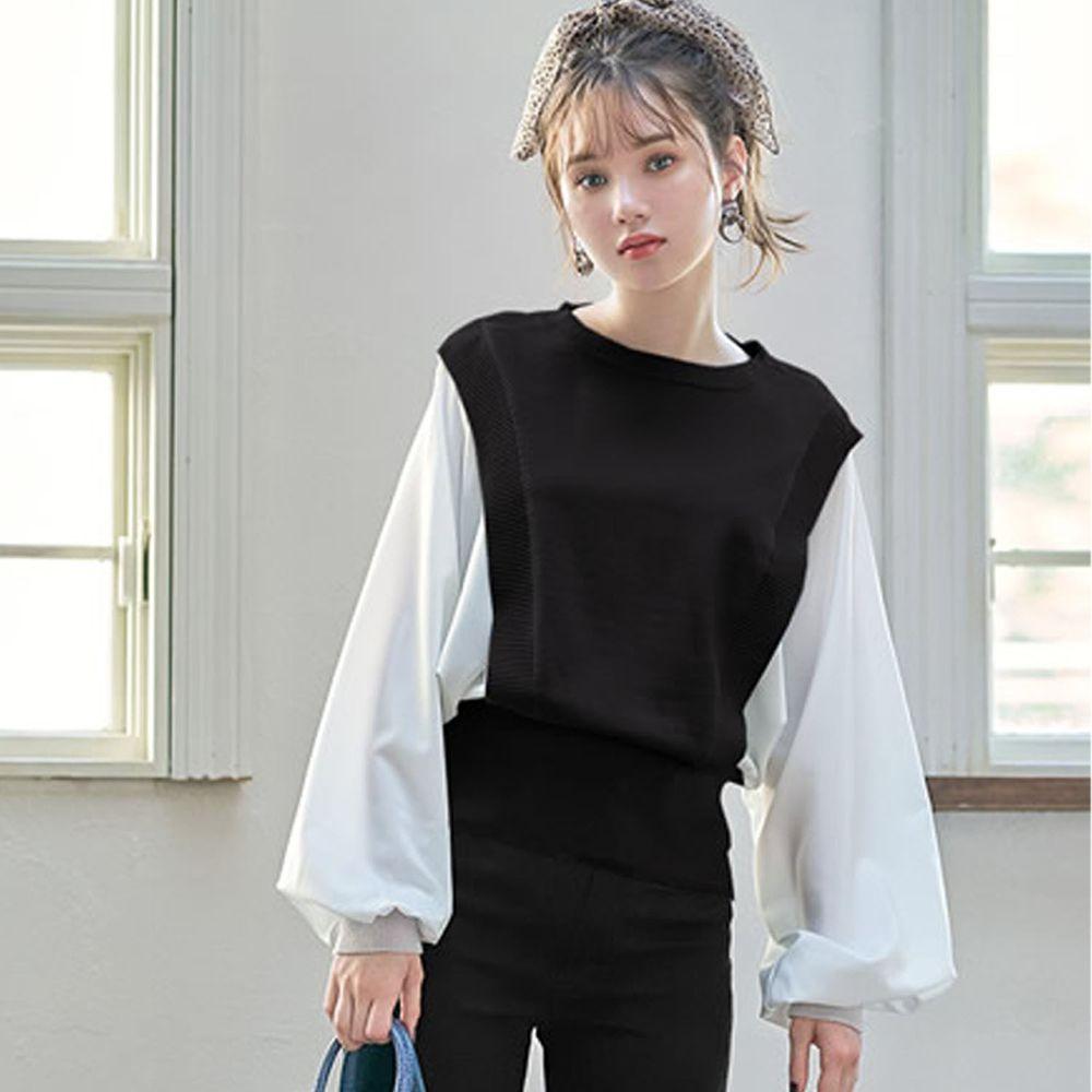日本 GRL - 異材質拼接雪紡X針織澎袖長袖上衣-黑