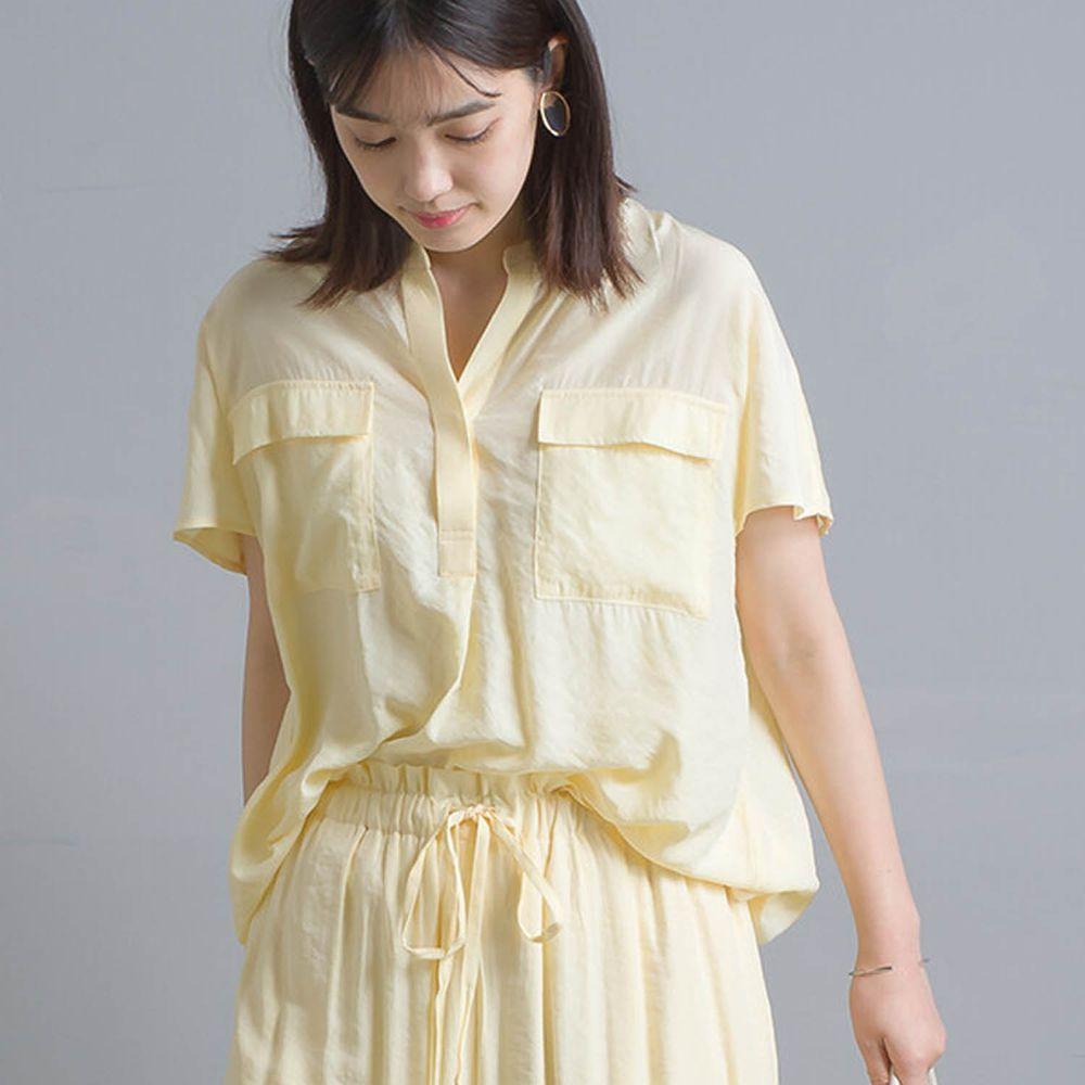 日本 OMNES - 氣流染質感V領雙口袋短袖襯衫-黃