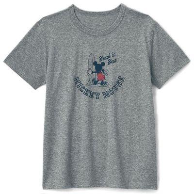 米奇背影與衝浪板純棉短袖T恤-爸爸-灰 (LL)