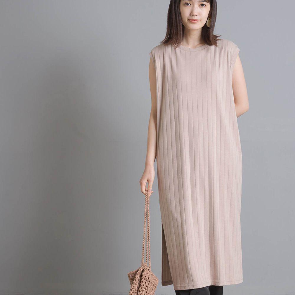 日本 OMNES - 防透汗加工 粗羅紋開衩無袖洋裝-杏