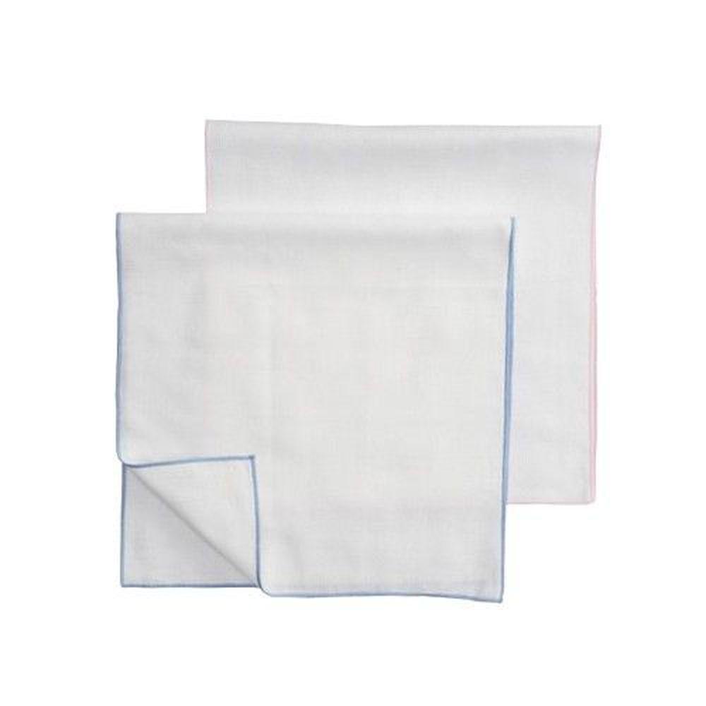 日本 Combi - 純棉透氣紗布澡巾-素色-2入(邊條淺藍x1+邊條淺粉x1)