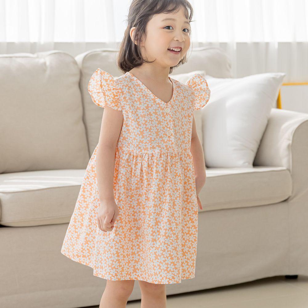 韓國 Orange Mom - 滿版花朵荷葉立體袖洋裝-橘