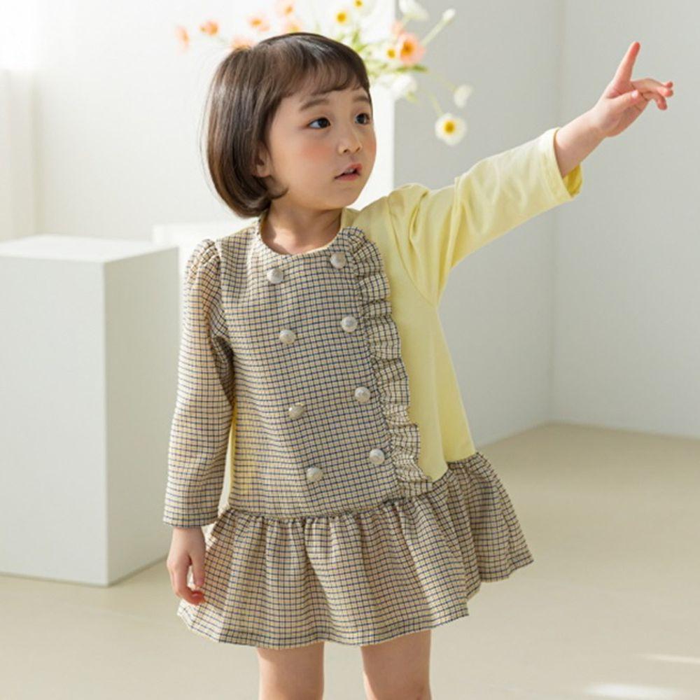 韓國 Orange Mom - 單邊荷葉雙排釦洋裝-鵝黃