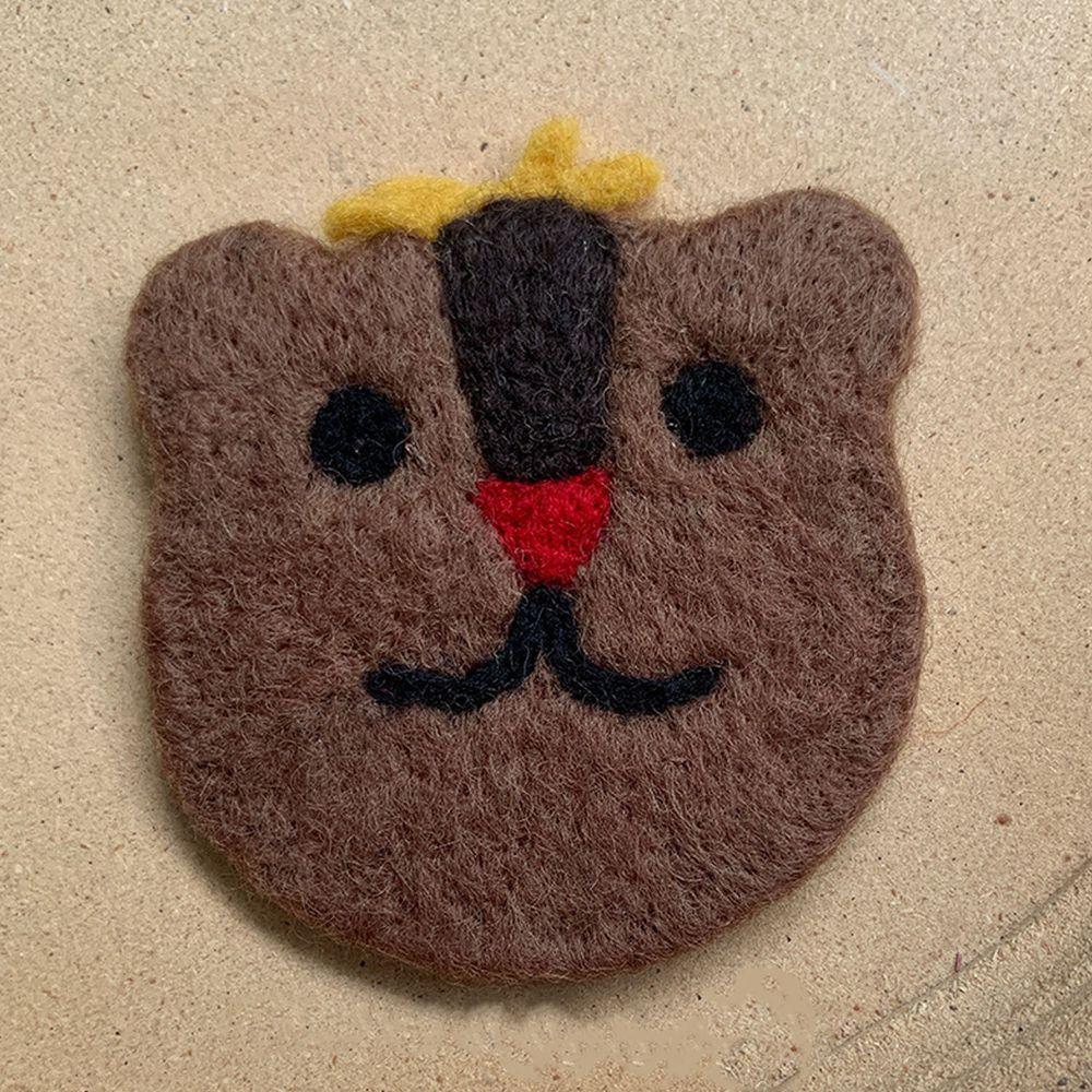 可愛動物造型羊毛氈杯墊-黑棕熊