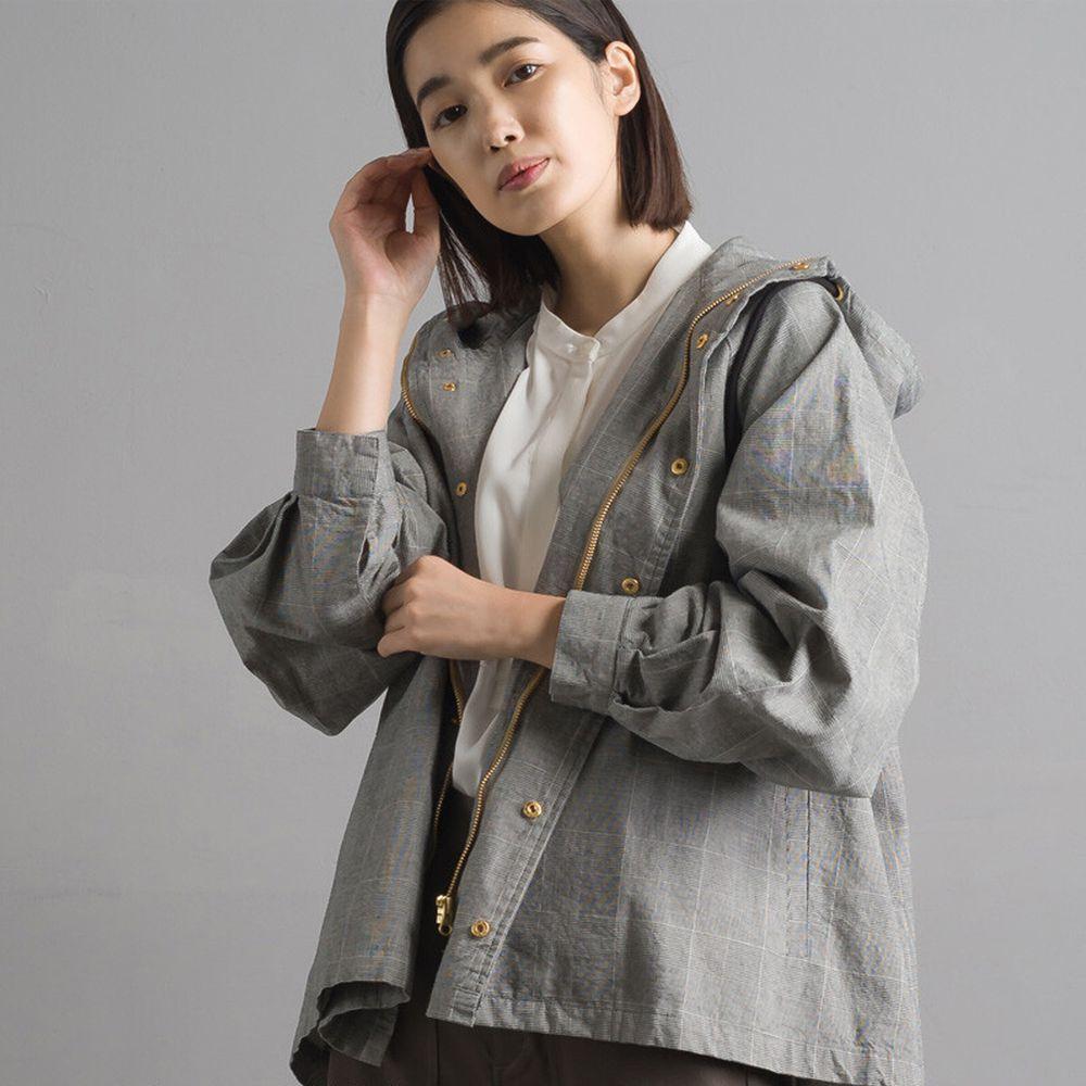 日本女裝代購 - 復古洗舊純棉連帽風衣外套-灰格紋