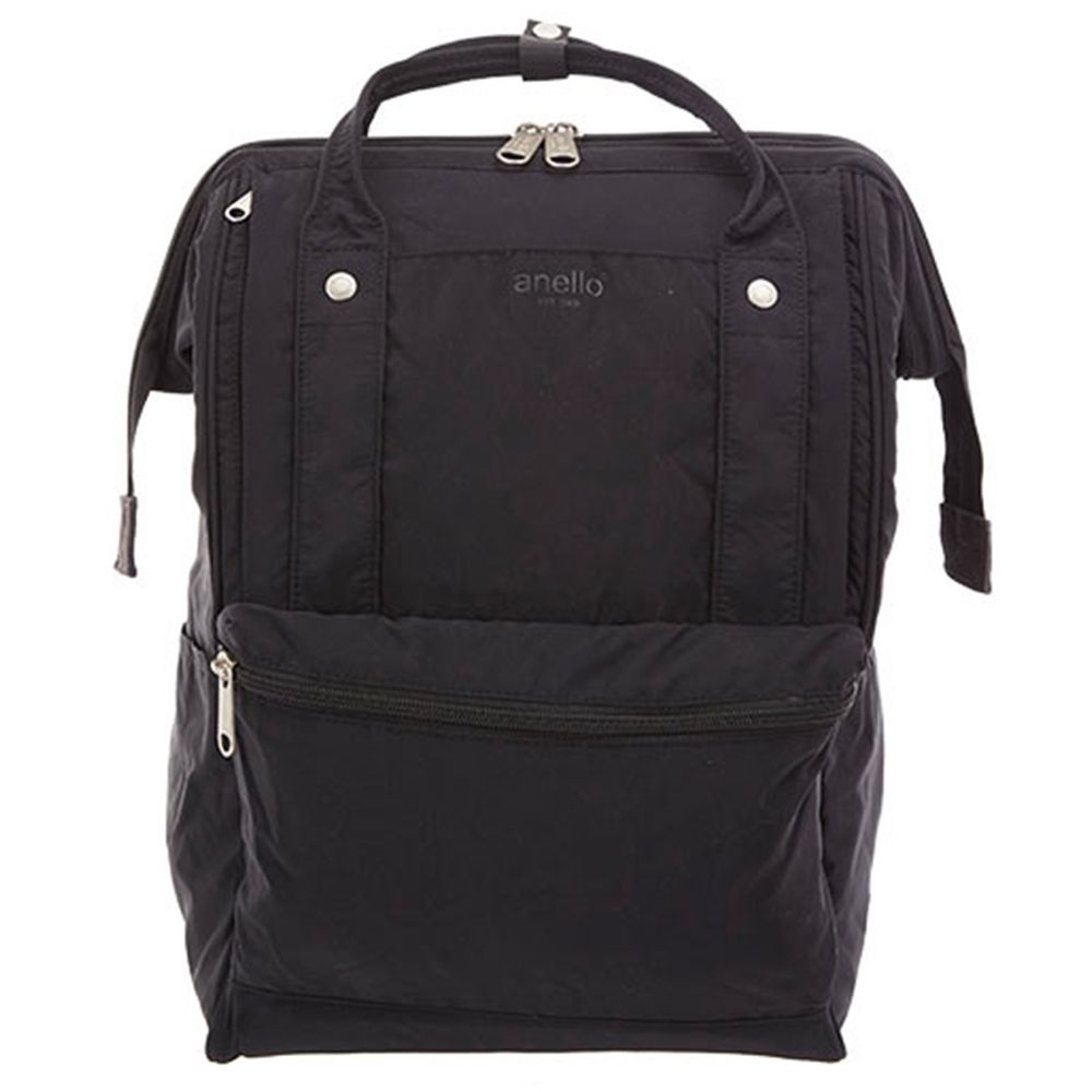 日本 Anello - 棉質尼龍風大開口後背包 10POCKET-Regular大尺寸-BK黑色