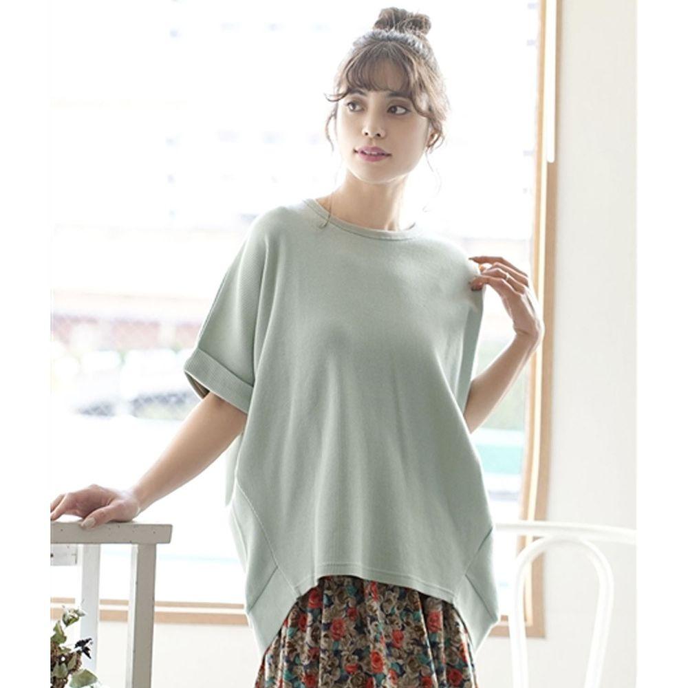 日本 zootie - 純棉鬆餅紋顯瘦五分袖寬版上衣-薄荷綠