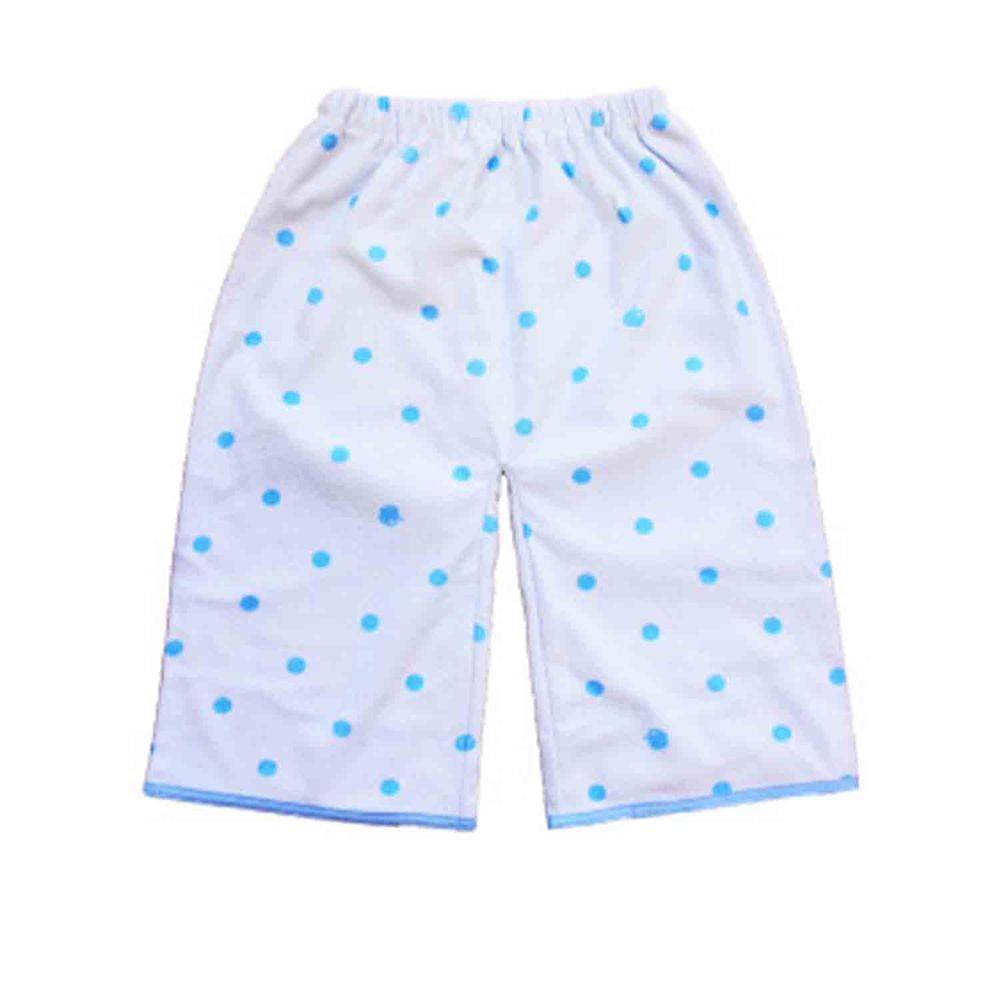 日本 un doudou - 戒尿床防水睡褲-吸水款(點點)-藍 (腰圍50-60cm/總長50cm)