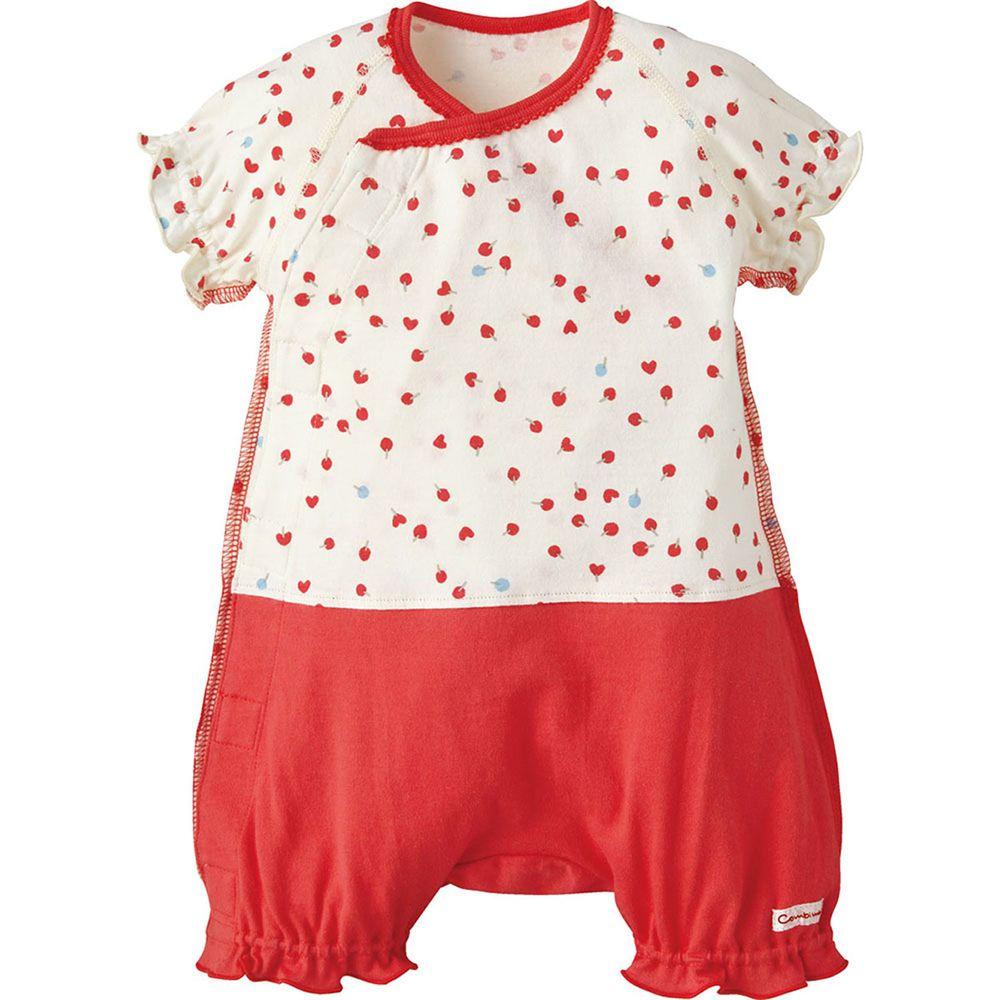 日本 Combi - mini系列-短袖連身衣-愛心/紅 (60-70)