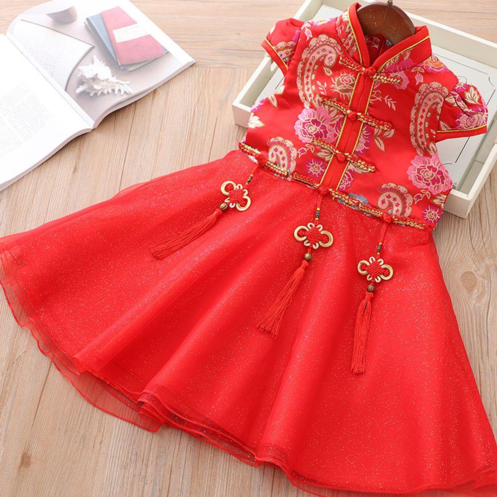 三生三世旗袍紗裙-紅色