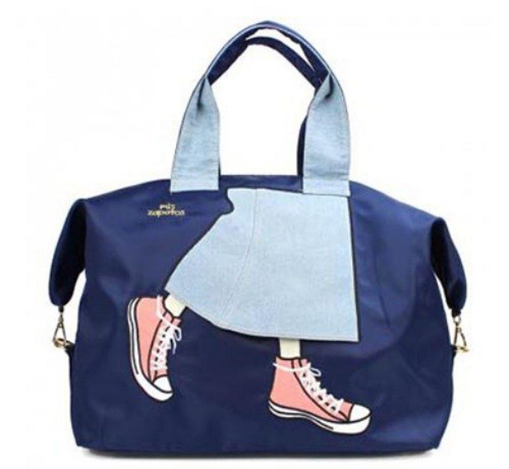 mis zapatos - 旅行款美腿包(尼龍)-牛仔裙-NV海軍藍 (36*41*20cm)