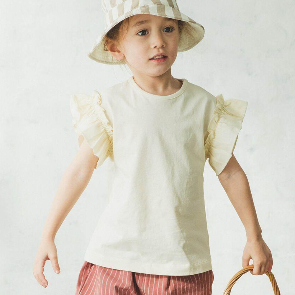 日本 PAIRMANON - 大荷葉薄紗拼接一分袖T-米白