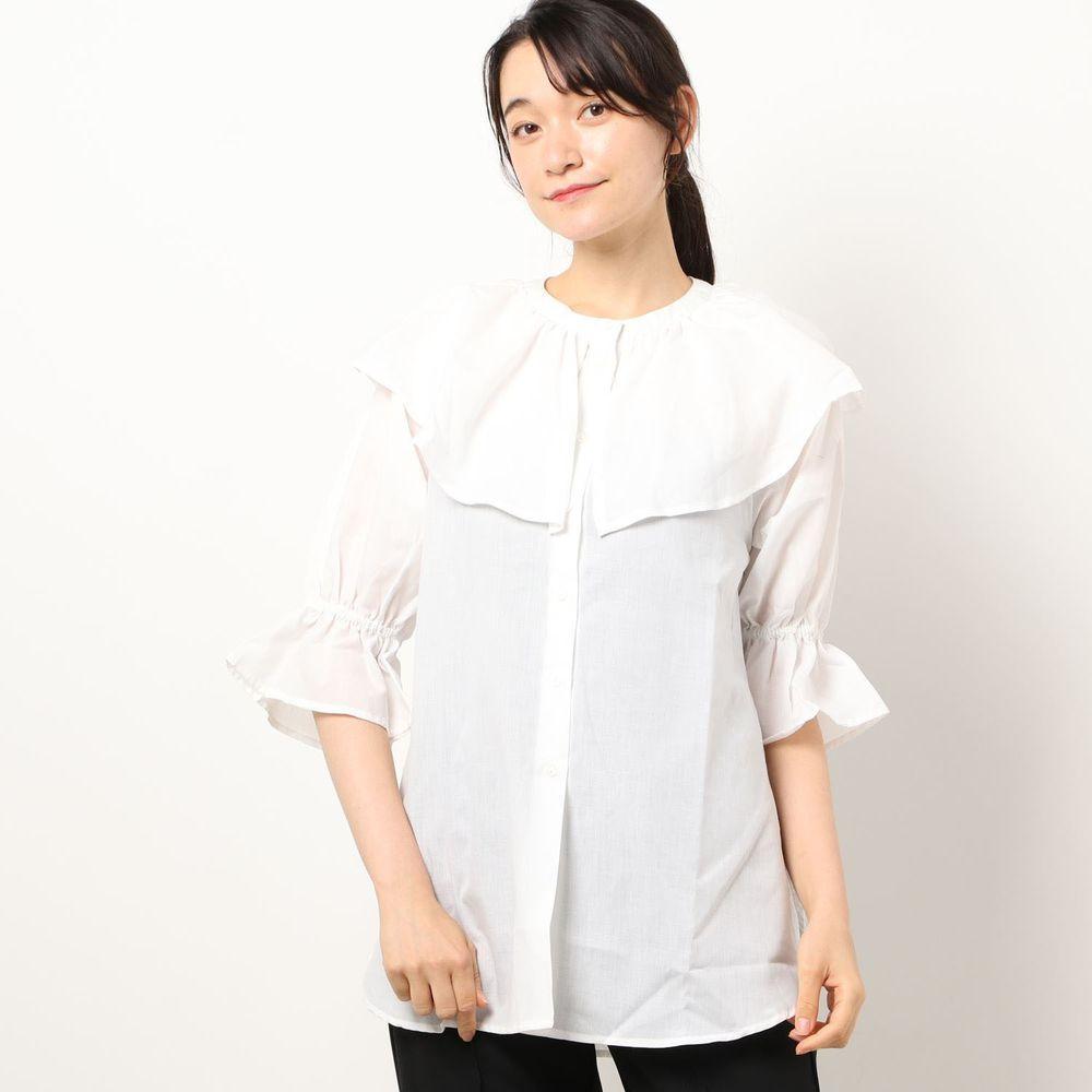 日本 Riche Glamour - 浪漫大荷葉五分袖襯衫-白