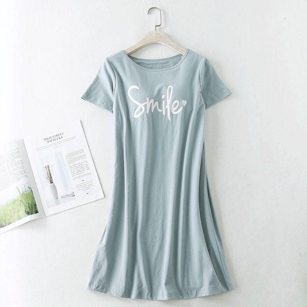莫代爾柔軟涼感Bra T字母睡裙-綠色
