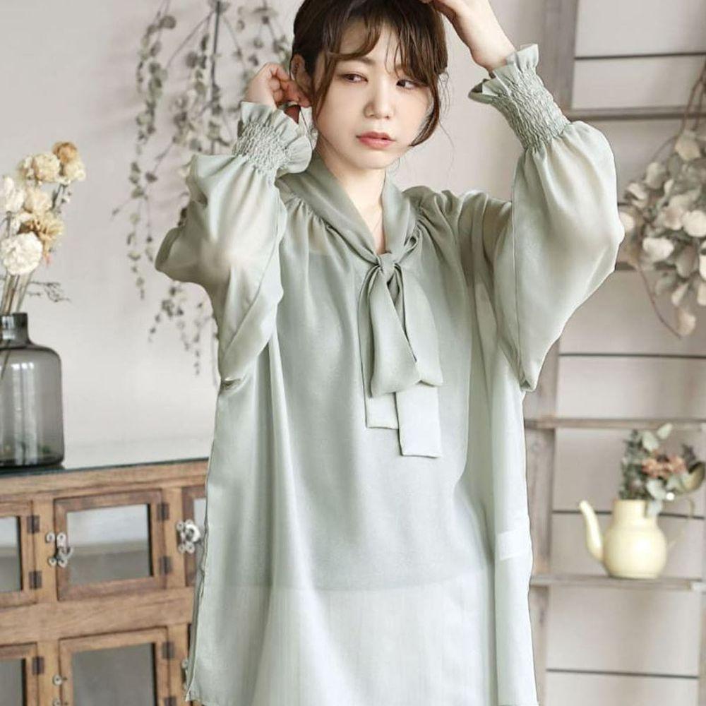 日本 zootie - 2way質感光澤微透膚雪紡蝴蝶結長袖上衣-薄荷