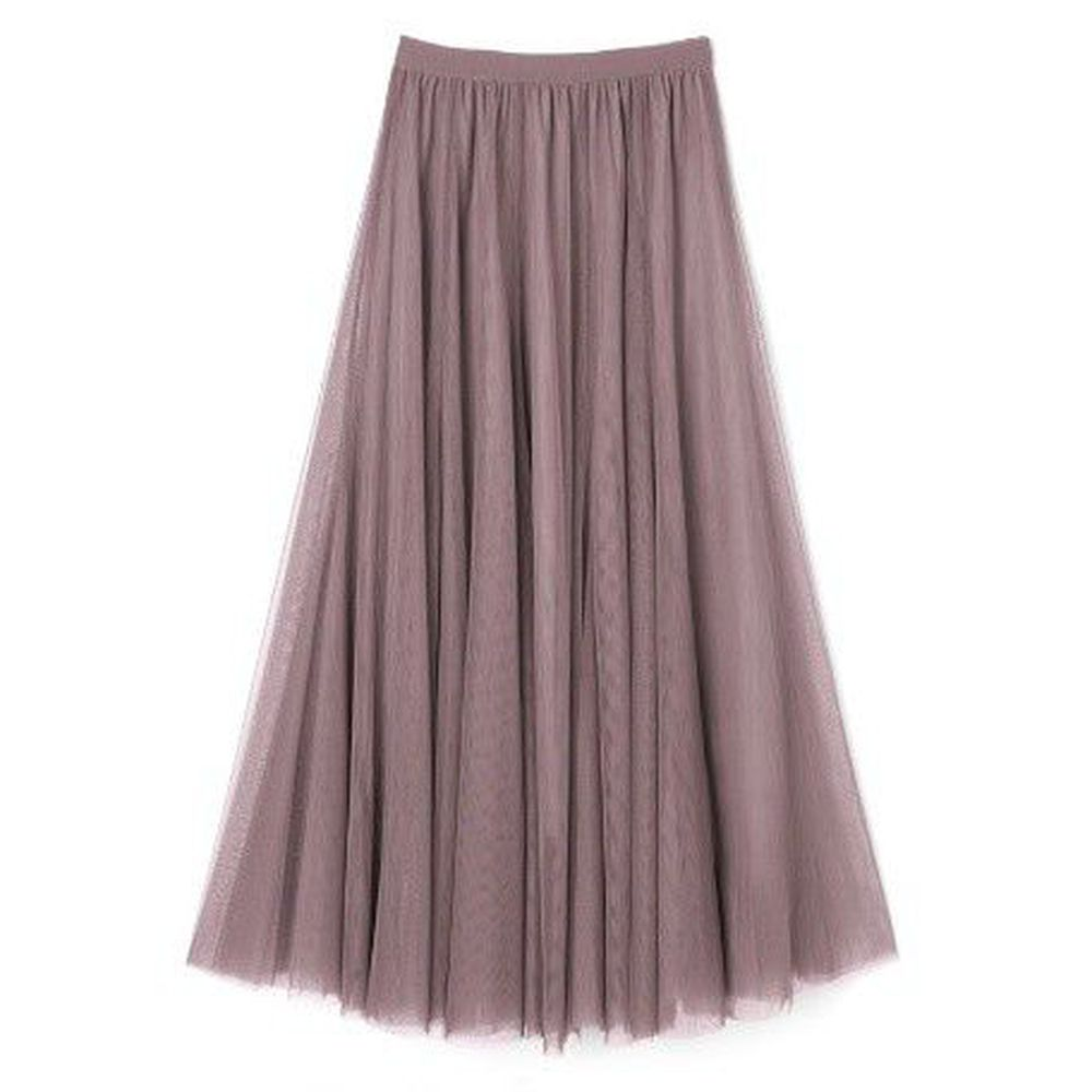 日本 GRL - 飄逸顯瘦雙層傘紗裙-藕灰粉 (M)