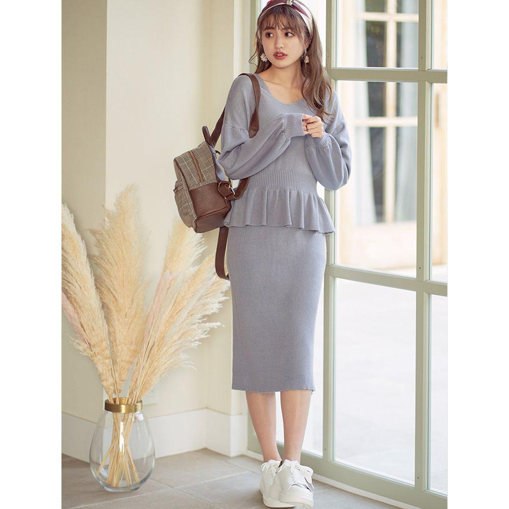 日本 GRL - V領荷葉衣襬針織上衣+修身洋裝套裝-寶貝藍
